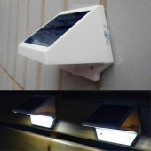 Solar Power Panel 4 LED Fence Gutter Light Outdoor Garden Wall Lobby Pathway Lamp Cold White