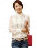 Elegant Women's Long Sleeve Sheer Lace Floral Chiffon Casual Tops Blouse Shirt White