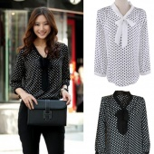 Women's Elegant Dot White Black Bowknot Long Sleeve Loose Chiffon Shirt Blouse S M L