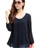 Women's Fashion Sexy Tops Long Sleeve Casual Chiffon Pleated Shirt Career Blouse 4 Colors