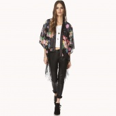 Vintage Retro Women Ethnic Floral Tassels Loose Kimono Cardigan Jacket Coat