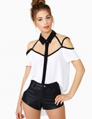 Women's Hollow Out Off Shoulder Blouse Chiffon Splicing Tops