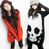 Korea Women's Long Sleeve Skull Printed Stretch Pullover Shirt Top Blouse