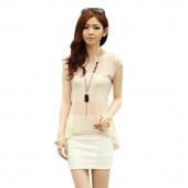 Women's Sleeveless Chiffon Splicing Knit T-shirt Tops Blouse M/L/XL