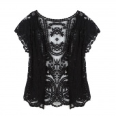 Women's Hollow-Out Retro Blouse Shirt Lace Embroidery Floral Crochet Short Sleeve Cardigan