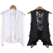 Fashion Women's Sleeveless Lace Back Pleated Hem Chiffon Blouse Medium Vest Black