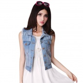Women's Retro Washed Sleeveless Personalized Cardigan Denim Short Vest Jean Waistcoat Coat Jacket Tops
