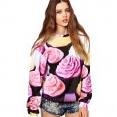 Spring Women's Girl Ice Cream Pattern round Collar Long Sleeve Sweater Hoodies Hoody