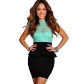 Women's Sexy Floral Lace Black Peplum Party Cocktail Dress Tunic Bodycon Dresses