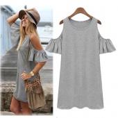 Women Butterfly Sleeve Cotton Cute Strap Off Shoulder Vest Dress Plus Size XXXL