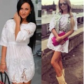 Elegant Spring Summer Women Ladies White Lace Floral Crochet Half Sleeve Dress Big Size