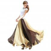 Vintage Style Women Soft Chiffon Contrast Elastic Waist Maxi Full Boho Skirt Dress