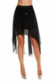 Fashion Women's Chiffon Pleated Retro Asymmetrical Swallow Tail Short Elastic Waist Skirt