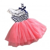 Girls Kids Stripe Net Yarn Bubble Dress Ball Gown Dress Lace + Cotton Material 3Colors 4Sizes