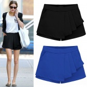 Spring Summer Women's Pleated Chiffon Overlay Irregular Solid Short Skirts Culottes Pants