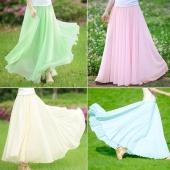 Women Three Layer Chiffon Pleated Retro Long Maxi Dress Elastic Waist Skirt