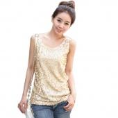 Women's Shining Vest Bling Sequin Tank Top Sleeveless T-Shirt Black Golden