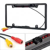 Car Rear View Backup Camera 8 IR Night Vision US License Plate Frame CMOS Alloy Black