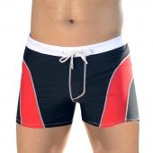 Men's Fashion Swimwear Boxer Shorts Swimming Bathing Trunks Patchwork 3 Colors