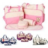 Big 5pcs Multi Function Baby Pad Diaper Nappy Tote Handbag Shoulder Bag Changing