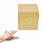 Modern Square Wood Wooden Green Light LED Display Sound Activated Digital Alarm Clock Thermometer