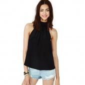 Womens Plus Size Halter Neck Sleeveless Loose Blouse Chiffon Shirt Tops