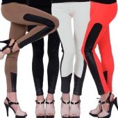 Punk Women Solid Color Bandage Bodycon Joint BLACK/Red/Camel Elastic Leggings