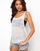 Fashion Women T-shirt Punk Street Tops round Neck Vest Transparent Sexy Tees