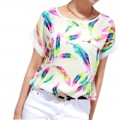 Women's Hot Sexy Feather Pattern Chiffon T-shirt Batwing-sleeve Tops Blouse