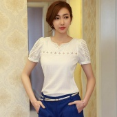 Women Girl's Elegant V Neck Chiffon Shirt Hollow Short Sleeve Casual Blouse