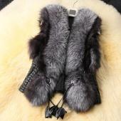 Women's Short Design Female Fox Fur Vest Leather Vest Outerwear Women Coat