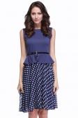Women's Vintage Celeb Belted Polka Dot Party Wear to Work Chiffon Tunic Dress