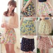 Womens Retro High Waist Pleated Floral Chiffon Sheer Short Mini Skirt Dress