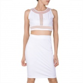 Sexy White 2 Piece Crop Top Pencil Skirt Bodycon Evening Party Club Dress