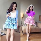 Women Chiffon Pleated Retro Dress High Waist Bubble Skirt M L