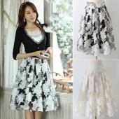 Fashion Elegant Organza Big Pleated Skirts for Women Girl in Black Beige