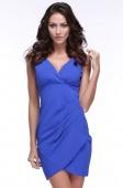 Womens Korean Deep V-Neck Sleeveless Ruffle Package Hip Dress Blue
