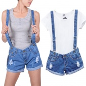Women's Casual Overalls Ripped Torn Denim Shorts Jeans Pants
