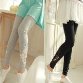 Women Leggings Lace Embroidered Skinny Leggings Tights Pencil Pants Printing