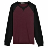 Fashion Men's round Neck Long Sleeved Color Stitching T-shirt Slim T-shirt 3 Colors