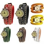 Classic Elegant Leather Strap Roma Number Dial Quartz Woman Watch 7 Colors