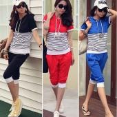 Women's Summer Sport Suit Short Sleeve T-shirt + Pants 2 Piece Set Fashion Suit
