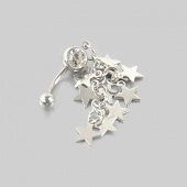 1 PCS Crystal Stars Chain Dangle Navel Belly Button Ring Bar Piercing