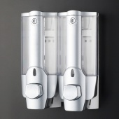 Silver Hotel/Household Bathroom Soap Shampoo Shower Dispenser 2 Containers