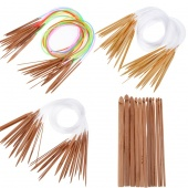 One Pair 18/15/12PC Carbonized Bleached Bamboo Knitting Needle Crochet