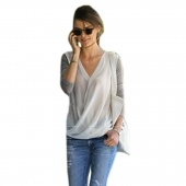 Style High-density Stitching Knitted Chiffon Fashion Shirt Women's Long Sleeve V-neck Blouse