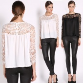 Fashion Women Crochet Lace Chiffon Stitching Blouses Shirt Tops