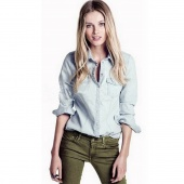 Women's Fitted Long Sleeve Jeans Denim Shirt Blouse
