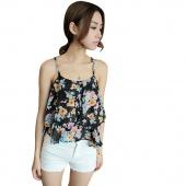 Fashion Women Summer Sleeveless Top Flower Spaghetti Strap Floral Print Chiffon Top Blouse