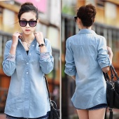 Fashion Plus Size Medium-Long Blue Casual Denim Shirt Turn-Down Collar Women Blouse Clothing
